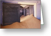 Entrance Door Greeting Cards - Abandoned House Filled with Drifting Sand Greeting Card by Jeremy Woodhouse