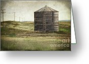 Silo Greeting Cards - Abandoned wood grain storage bin in Saskatchewan Greeting Card by Sandra Cunningham