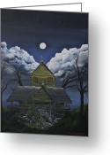 Spooky Moon Greeting Cards - Abby Greeting Card by Chad LaBombarde