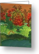 Old Country Roads Painting Greeting Cards - Above the River Greeting Card by Marfa Tymchenko