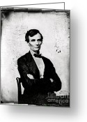Presidency Greeting Cards - Abraham Lincoln, 16th American President Greeting Card by Photo Researchers