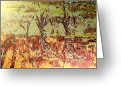 Gold Lame Painting Greeting Cards - Abstract artwork Greeting Card by Odon Czintos