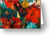 Floral Abstracts Greeting Cards - Abstract Blooms Greeting Card by Lynda Bee White