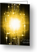 Blank Greeting Cards - Abstract Circuit Board Lighting Effect  Greeting Card by Setsiri Silapasuwanchai