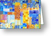 Bright Color Greeting Cards - Abstract City Greeting Card by Setsiri Silapasuwanchai