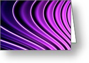 Creativity Digital Art Greeting Cards - Abstract Curved Lines, Diminishing Perspective Greeting Card by Ralf Hiemisch
