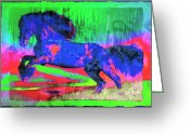Contemporary Horse Digital Art Greeting Cards - Abstract Horse Greeting Card by David G Paul