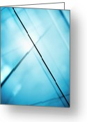 Grid Greeting Cards - Abstract Intersecting Lines On A Glass Surface Greeting Card by Ralf Hiemisch