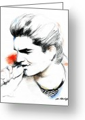 Singer Drawings Greeting Cards - Adam Lambert Greeting Card by Lin Petershagen