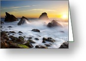 Ethereal Water Greeting Cards - Adraga Beach Greeting Card by Carlos Caetano