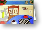 Bi Plane Greeting Cards - Afternoon Distractions Greeting Card by Snake Jagger