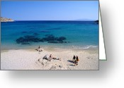 Suntan Greeting Cards - Agrari beach Greeting Card by George Atsametakis