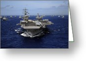 Warship Greeting Cards - Aircraft Carrier Uss Ronald Reagan Greeting Card by Stocktrek Images