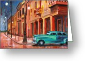 Street Lamps Greeting Cards - Al Caer la Noche Greeting Card by Maria Arango