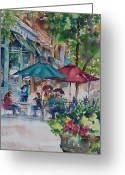 Store Fronts Greeting Cards - Al Fresco Greeting Card by Amy Caltry