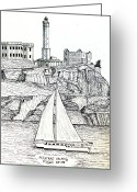 Alcatraz Greeting Cards - Alcatraz Island Greeting Card by Frederic Kohli