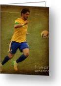 Kicking Football Greeting Cards - Alexandre Pato II Greeting Card by Lee Dos Santos