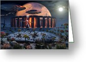Science Fiction Digital Art Greeting Cards - Alien Explorers On An Alien World Greeting Card by Mark Stevenson