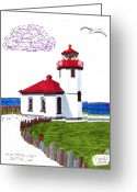 Historic Lighthouse Drawings Greeting Cards - Alki Point Light Greeting Card by Frederic Kohli