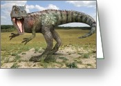 Sharp Teeth Greeting Cards - Allosaurus Dinosaur, Artwork Greeting Card by Roger Harris