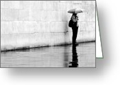 Raining Greeting Cards - Alone In The Rain Greeting Card by Linda Wisdom
