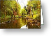 Forest Pastels Greeting Cards - Along the river Greeting Card by Stefan Kuhn