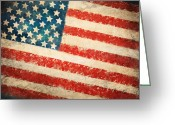 Weathered Greeting Cards - America flag Greeting Card by Setsiri Silapasuwanchai