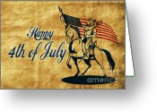 Cavalry Greeting Cards - American cavalry soldier Greeting Card by Aloysius Patrimonio