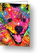 Pop Art Mixed Media Greeting Cards - American Eskimo Dog Greeting Card by Dean Russo