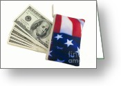 Responsibility Greeting Cards - American Flag Wallet with 100 dollar bills Greeting Card by Blink Images