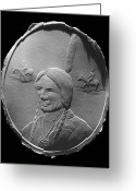 American Reliefs Greeting Cards - American Indian Greeting Card by Suhas Tavkar
