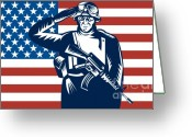 Uniform Greeting Cards - American soldier saluting flag Greeting Card by Aloysius Patrimonio