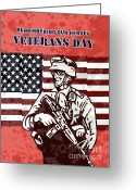 Stars And Stripes.   Greeting Cards - American solider serviceman with flag  Greeting Card by Aloysius Patrimonio
