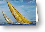 Gregory Allen Page Greeting Cards - Americas Cup Sailboat Race Greeting Card by Gregory Allen Page