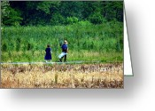 Amish Family Greeting Cards - Amish Brother and Sister Greeting Card by Randy Matthews