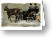Horse And Buggy Greeting Cards - Amish Country Greeting Card by Bob Salo