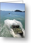 Armored Vehicles Greeting Cards - Amphibious Assault Vehicles Exit Greeting Card by Stocktrek Images