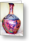 Color Ceramics Greeting Cards - Amphora Greeting Card by Susan Bornstein