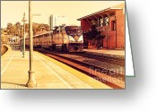 Old Postcards Greeting Cards - Amtrak Train At The Martinez California Train Station . 7D10495 Greeting Card by Wingsdomain Art and Photography