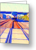 Train Track Greeting Cards - Amtrak Train . Photo Art Greeting Card by Wingsdomain Art and Photography