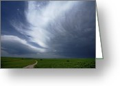 Grasslands Greeting Cards - An Afternoon Thunderstorm Coming Greeting Card by Jim Richardson