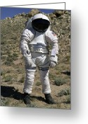 Desert Rats Greeting Cards - An Astronaut Equipped With A Mark-iii Greeting Card by Stocktrek Images