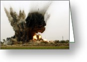 Paveway Greeting Cards - An Explosion Greeting Card by Stocktrek Images