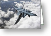 Fighter Jets Greeting Cards - An F-15c Aggressor Flies Greeting Card by Stocktrek Images