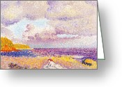 Pointillist Painting Greeting Cards - An Incoming Storm Greeting Card by Henri-Edmond Cross