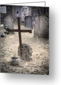Thriller Greeting Cards - An Old Cemetery With Grave Stones Greeting Card by Joana Kruse