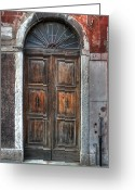 Old City Greeting Cards - an old wooden door in Italy Greeting Card by Joana Kruse