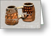 Anasazi Greeting Cards - Anasazi Double Mug Greeting Card by David Lee Thompson
