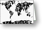 World Map Print Photo Greeting Cards - Andy Warhol World Map Greeting Card by Stephen Walker