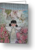 White Dress Mixed Media Greeting Cards - Angel Greeting Card by Johanna Virtanen